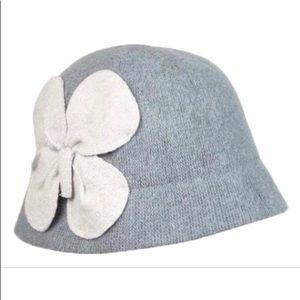 August Grey Wool/Nylon Cloche Hat w/Flower NWT